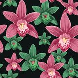 Watercolor style seamless pattern with orchid flowers. Dark background for your design and decor Royalty Free Stock Photography