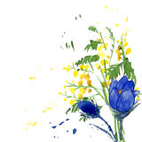 Watercolor Style Vector Illustration of Snowdrops Stock Photo