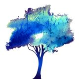 Watercolor style vector illustration of a tree Stock Image