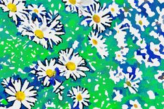 Watercolor stylization. chamomile on a green meadow vector illustration