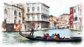Watercolor stylization video of gondola in a canal in Venice, Italy. stock video footage