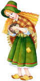 Watercolor stylized picture. Medieval poor with plaid cape Royalty Free Stock Images