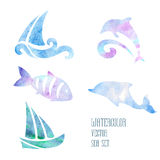 Watercolor stylized sea set on a white background. Watercolor stylized ship and fish on a white background Royalty Free Stock Image