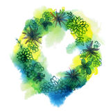 Watercolor succulent wreath Stock Photo