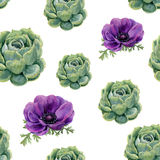Watercolor succulents and anemone flowers seamless pattern on white background. Floral texture for design, textile and background. Stock Image