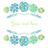 Watercolor succulents frame Royalty Free Stock Photos