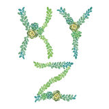 Watercolor succulents letters. Watercolor succulents alphabet. Letters on white Royalty Free Stock Images
