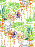 Watercolor succulents. Royalty Free Stock Photography