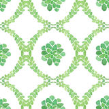 Watercolor succulents seamless pattern. On white background Stock Image