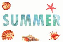 Watercolor summer background with fishes and shells with inscription summer stock illustration