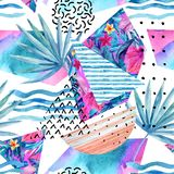 Watercolor summer background with flowers, fan palm leaves, doodles, lines, geometrical shapes. Royalty Free Stock Photos