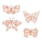 Watercolor summer butterfly. Watercolor butterfly summer pattern on white background Royalty Free Stock Photography
