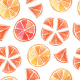 Watercolor summer citrus seamless pattern Stock Photography