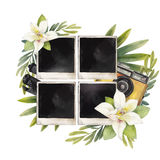 Watercolor summer design. With photo paper, retro camera and vanilla flowers. Hand painted floral card isolated on white background Stock Photography
