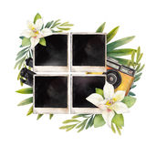 Watercolor summer design. With photo paper, retro camera and vanilla flowers. Hand painted floral card  on white background Royalty Free Stock Images