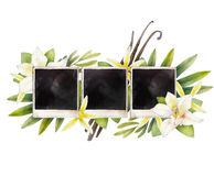 Watercolor summer design. With photo paper and vanilla flowers. Hand painted floral card  on white background Stock Photo