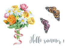 Watercolor summer floral bouquet with butterflies Royalty Free Stock Photos
