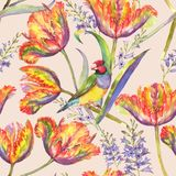 Watercolor summer floral seamless pattern. With colorful tulips and hyacinth. Fresh bright flowers and Gouldian finch bird in the beautiful repeated print for Vector Illustration