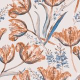 Watercolor summer floral seamless pattern. Hand-drawn watercolor summer floral seamless vintage pattern with colorful tulips and hyacinth. Retro style flowers in Royalty Free Illustration