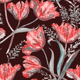 Watercolor summer floral seamless pattern. Hand-drawn watercolor summer floral seamless pattern with vibrant red tulips and hyacinth. Fresh bright flowers in the Royalty Free Illustration