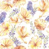 Watercolor summer floral seamless pattern. With yellow tulips and hyacinth. Fresh bright flowers in the beautiful repeated print for the textile, wallpapers Stock Illustration