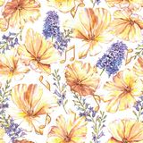 Watercolor summer floral seamless pattern. With yellow tulips and hyacinth. Fresh bright flowers with golden notes in the beautiful repeated print for the Royalty Free Illustration
