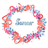Watercolor summer floral wreath. On white background Royalty Free Stock Photo