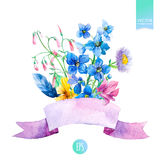 Watercolor summer flowers bouquet and pink ribbon. Stock Image