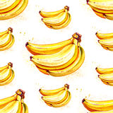 Watercolor summer fruit banana pattern. On white background Royalty Free Stock Photo