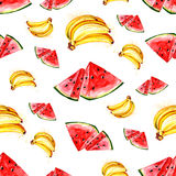 Watercolor summer fruit banana and watermelon pattern. On white background Stock Photography