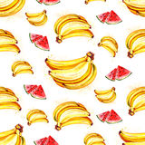 Watercolor summer fruit banana and watermelon  pattern. On white background Royalty Free Stock Photo