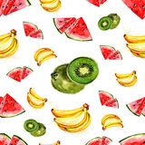 Watercolor summer fruit pattern. On white background Royalty Free Stock Images