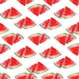 Watercolor summer fruit watermelon pattern. On white background Stock Image