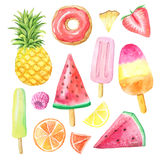 Watercolor summer fruits, donut and icecream Stock Photography