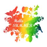 Watercolor summer illustration. Banner with flowers and birds royalty free illustration