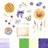 Watercolor summer illustration in flat lay style. Book, flowers, tea cup, cherry pie, hat, butterfly. View from above