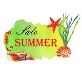 Watercolor summer illustration. Sale banner with fishes and shells vector illustration