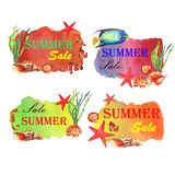 Watercolor summer illustration. Sale banners with fishes and shells stock illustration