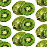 Watercolor summer kiwi pattern. On white background Stock Image