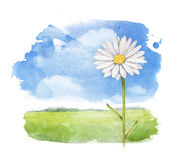 Watercolor summer landscape Royalty Free Stock Photo