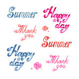 Watercolor summer lettering. Watercolor spring summer lettering on white background Royalty Free Stock Photography