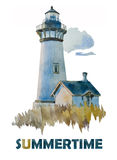 Watercolor Summer lighthouse. White lighthouse with a small building on the coast watercolor illustration Stock Photos