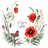 Watercolor Summer Meadow Wildflowers and Poppies Wreath