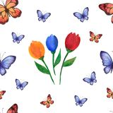 Watercolor summer pattern of handmade with flowers and butterflies. vector illustration