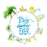 Watercolor summer poster with lettering on beach Royalty Free Stock Photos