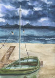 Watercolor summer print with sea landscape and old boat. Hand painted stormy sky with clouds, sea, sand coast, shallop Royalty Free Stock Photos