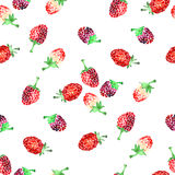 Watercolor summer raspberry pattern. On white background Stock Image