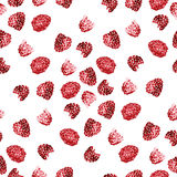 Watercolor summer raspberry pattern. On white background Stock Photo