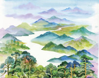 Watercolor summer river landscape vector illustration Royalty Free Stock Image