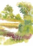 Watercolor summer rural landscape Stock Image